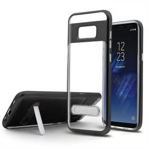 Samsung S8 Elegant Clear Ultra Thin Standiing Soft Case PC Black