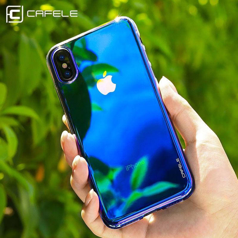 CAFELE Case For iPhone X 10 Originality luxury Aurora Gradient Color Transparent Case For iPhone X Cover compressor