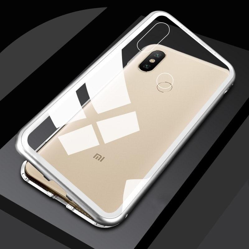 Magnetic Adsorption Metal Glass Case For Xiaomi Redmi Note 5 Pro Case Xiomi Magnet Magneto Case Transparent Silver min min