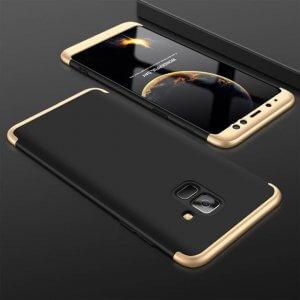 Samsung A8 A8 Plus Full Cover Armor Hard Case 360 Black Gold min