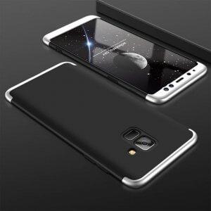 Samsung A8 A8 Plus Full Cover Armor Hard Case 360 Black Silver min