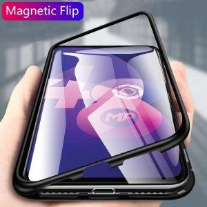 Magnetic Flip case for oppo f11 pro case clear Glass hard back cover luxury metal frame 0 min
