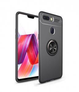 WeeYRN Magnetic Ring Stand Case Xiaomi mi 8 Lite mi8 Luxury Soft Silicone Case Tempered Glass black black
