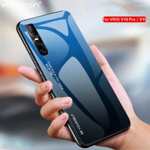 0 For VIVO V15 Pro Phone Case Gradient Tempered Glass Hard Case Soft TPU Silicone Frame Hard1