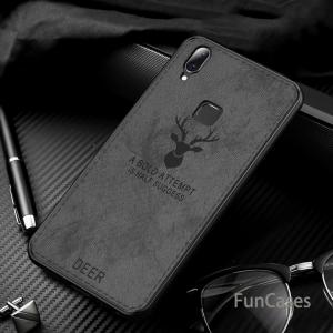 1 For Vivo V11 Case Retro Cloth Leather Deer Pattern Shockproof Soft TPU PC Cover For Vivo