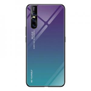 2 For VIVO V15 Pro Phone Case Gradient Tempered Glass Hard Case Soft TPU Silicone Frame Hard