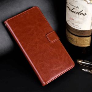 Vivo V11 Flip Leather Wallet Cover Brown