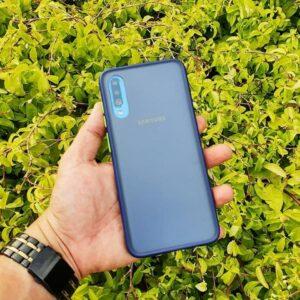 Case Samsung A70 Casing Hybrid Softcase Hardcase Transparan Matte Biru min