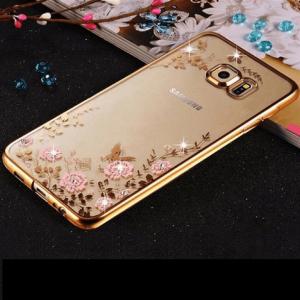 Soft Case Flower S6 Edge Gold