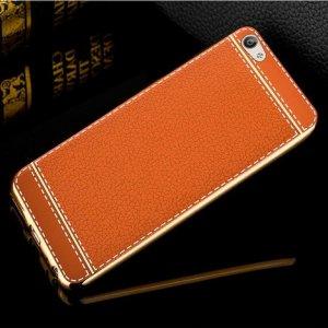 Soft Case Leather Chrome Vivo V5 Brown