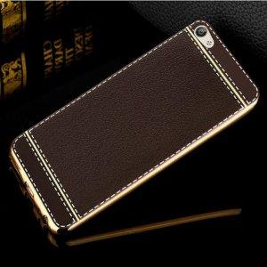 Soft Case Leather Chrome Vivo V5 Dark Brown
