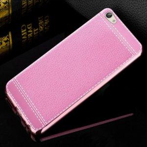 Soft Case Leather Chrome Vivo V5 Pink