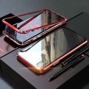 dengan Case Magnetic Aluminium Tempered Glass Luxury Red